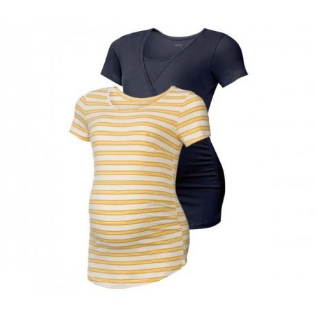 ESMARA® Set de 2 T-shirts de grossesse Jaune/ Noir