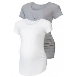ESMARA® Set de 2 T-shirts de grossesse Blanc / Gris