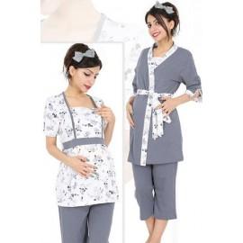 Pyjama 3 pièces 100% coton grossesse et allaitement